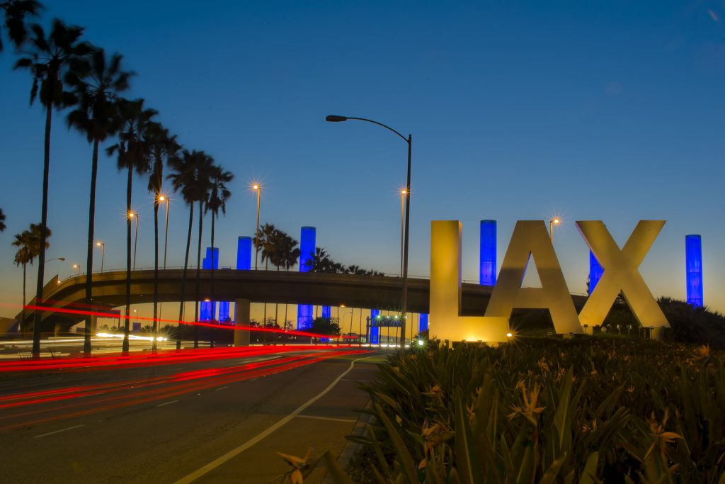 Los Angeles International Airport Sign at Night
